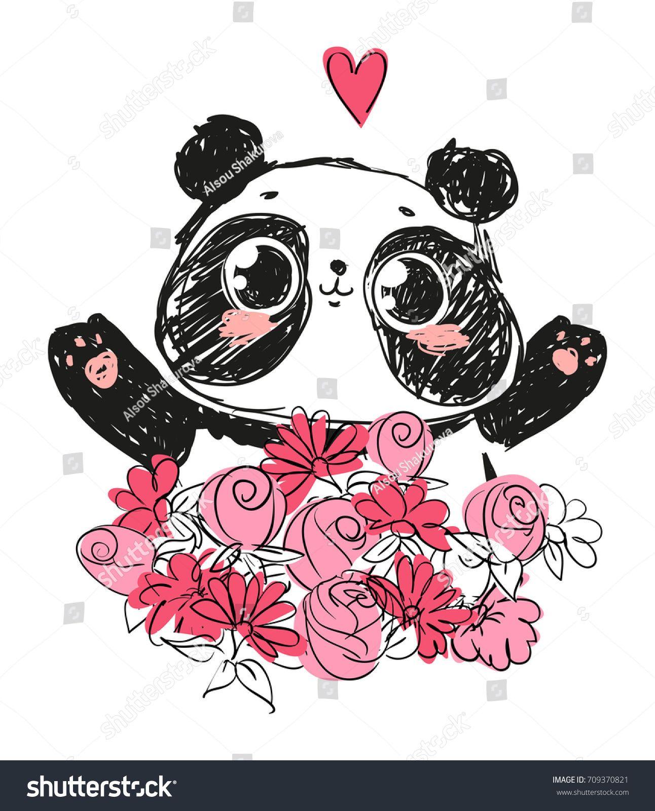 1292x1600 Cute Panda Bear, Vector Illustration. Animal Vector. Panda With
