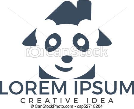450x366 Panda Home Shape Vector Design. Creative Panda Vector Logo Design