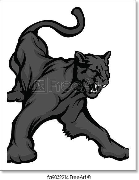 450x580 Free Art Print Of Panther Mascot Body Vector Image. Graphic Mascot
