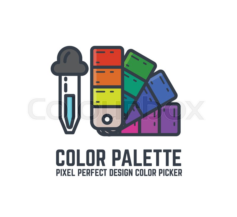 800x733 Color Picker And Palette Thin Line Style Flat Vector Illustration