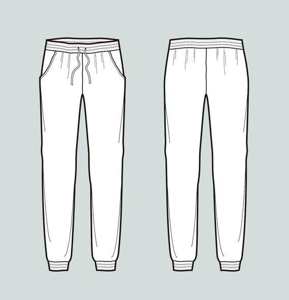 570x591 Jogger Pants Vector Fashion Flat Sketch Adobe Illustrator Etsy