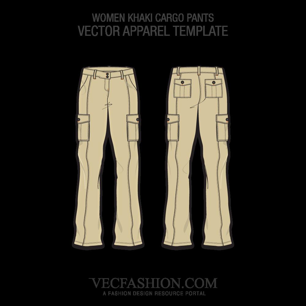1000x1000 Khaki Cargo Pants Vector Template