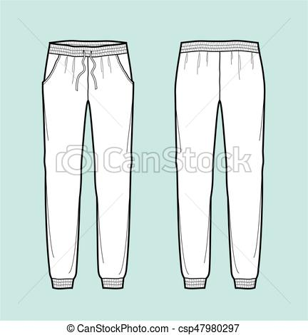 432x470 Pants. Vector Illustration Of Joggers Pants. Front And Back.