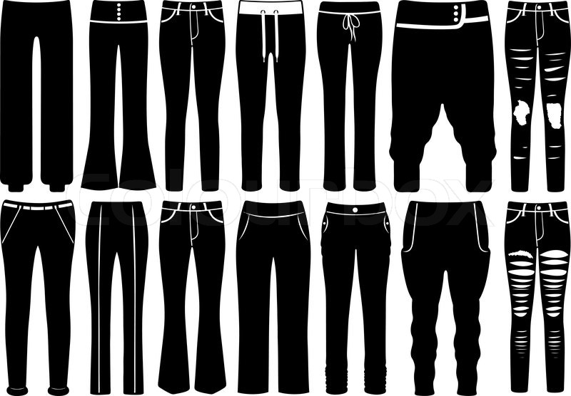 800x556 Set Of Different Pants Isolated On White Stock Vector Colourbox