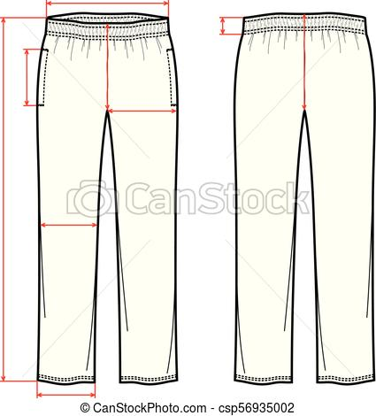 425x470 Sport Pants. Vector Illustration Of Sport Pants. Front And Back.