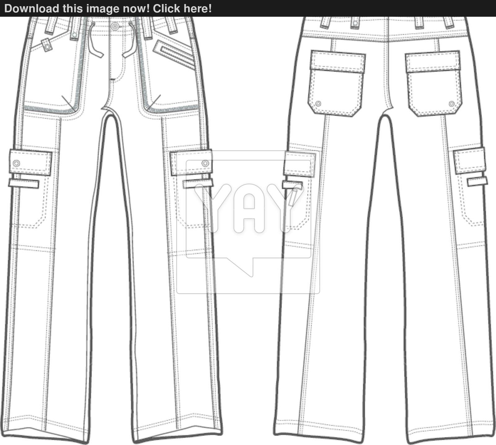 1600x1437 Fashion Cargo Pants Vector