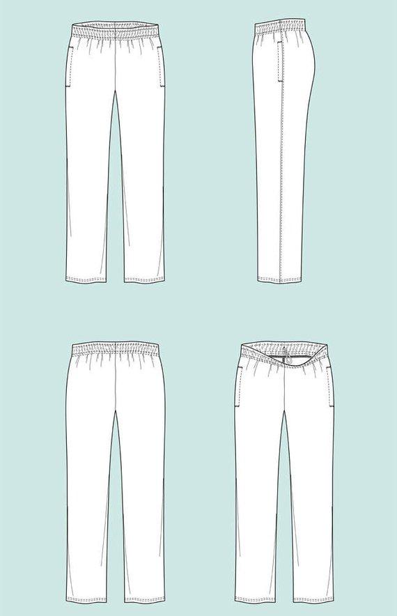 570x884 Fleece Pants Vector Fashion Flat Sketch Adobe Illustrator Etsy