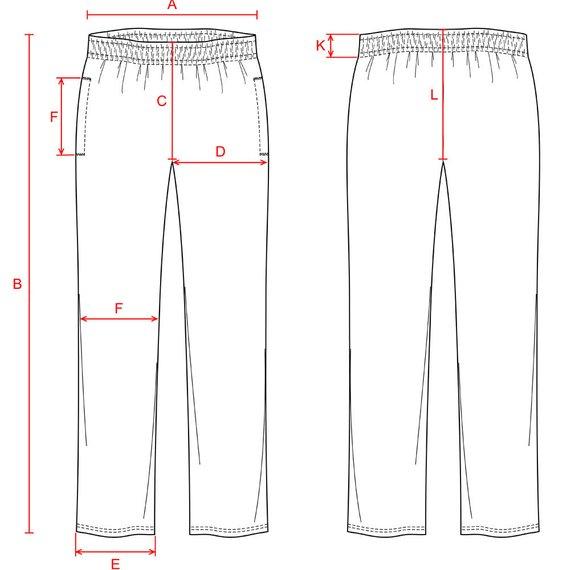 570x570 Fleece Pants Vector Fashion Flat Sketch With Measurements Etsy