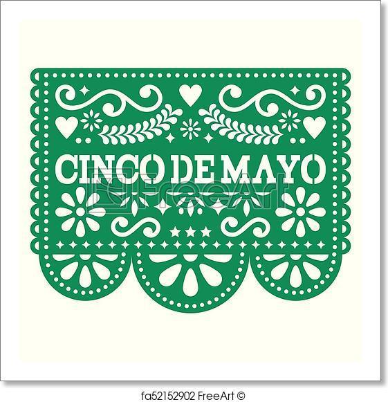 561x581 Free Art Print Of Cinco De Mayo Papel Picado Vector Design