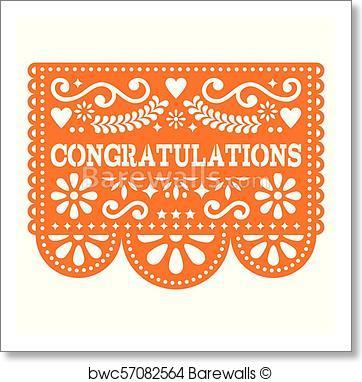 362x382 Art Print Of Congratulations Papel Picado Vector Design, Greeting