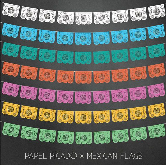 570x569 Papel Picado Flags Vector Illustrator By Shopthoughtfulpaper Ck