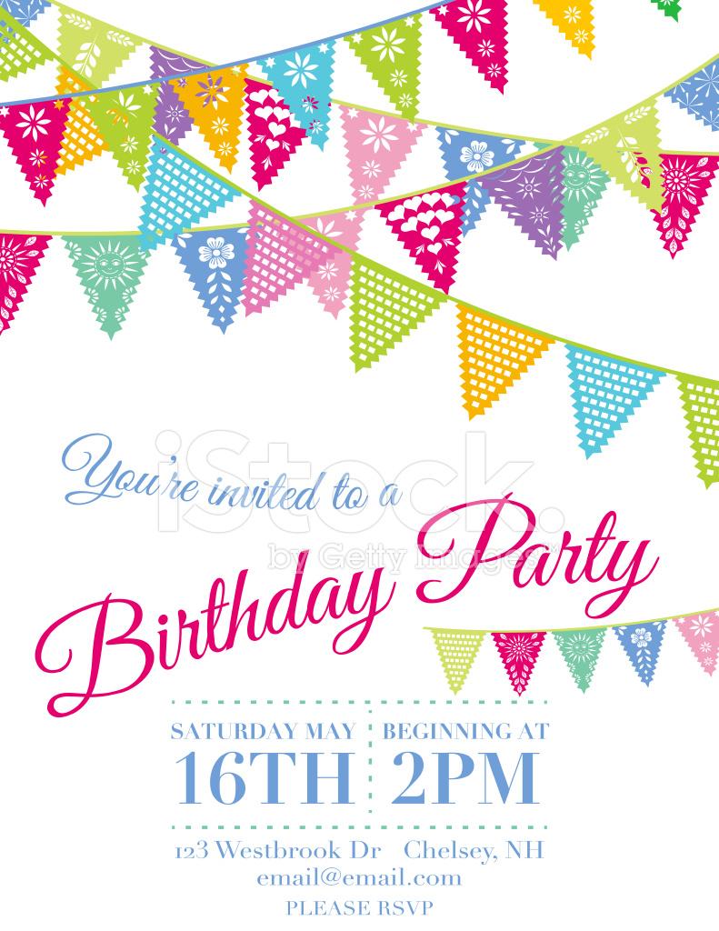 791x1024 Vector Papel Picado Birthday Invitation Template Stock Vector