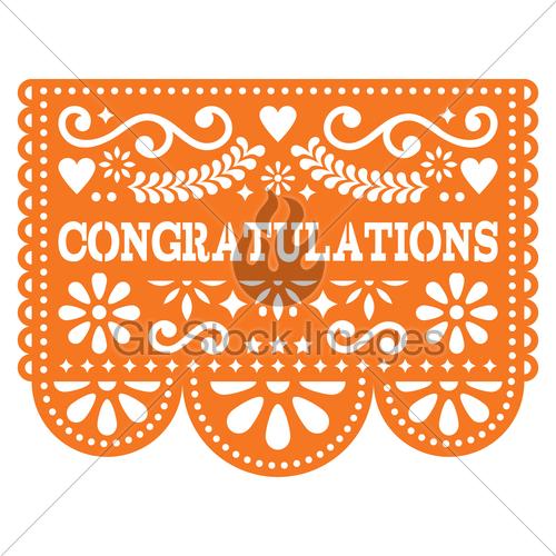 500x500 Congratulations Papel Picado Vector Design, Greeting Card... Gl