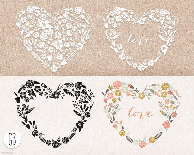 642x513 Floral Heart Shaped Wreaths Papel Picado Clip Art Vector Etsy