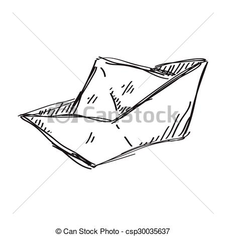 450x470 Simple Doodle Of A Paper Boat. Simple Hand Drawn Doodle Of A Paper