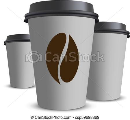 450x416 Paper Coffee Cup. Vector Realistic Blank Paper Coffee Cup Isolated