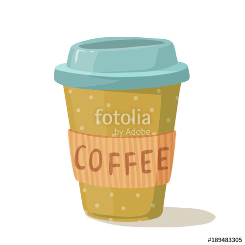 500x500 Coffee Cup Vector Illustration. Paper Cup With Polka Dot Pattern