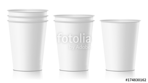500x282 Realistic Paper Cup Vector. Cafe Latte, Mocha, Cappuccino Cup Mock