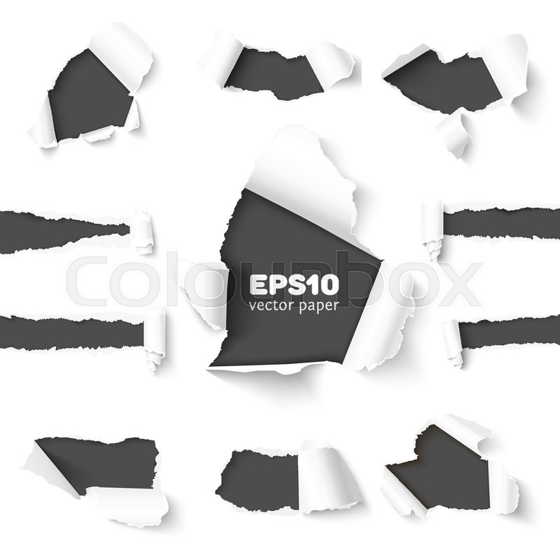 800x800 Set Of Holes In White Paper With Torn Sides Over Dark Paper