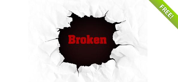 594x274 Broken Paper Hole Free Vector Graphic Download