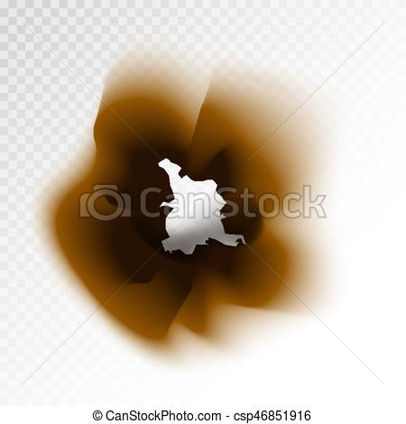 450x470 Burnt Brown Isolated Paper Hole On Transparent Background. Burned