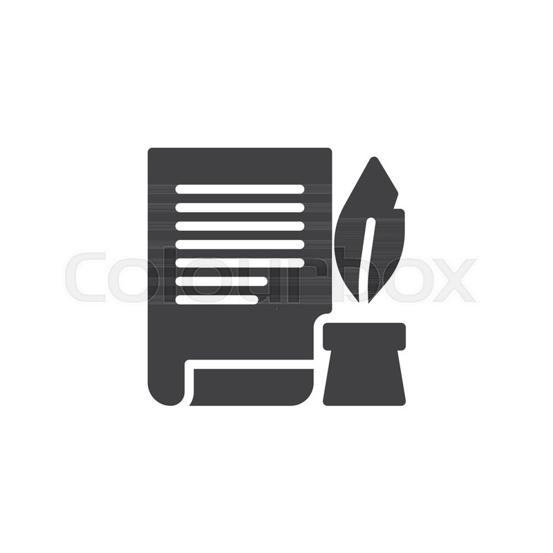 800x800 Ink Feather Pen And Scroll Paper Icon Vector, Filled Flat Sign