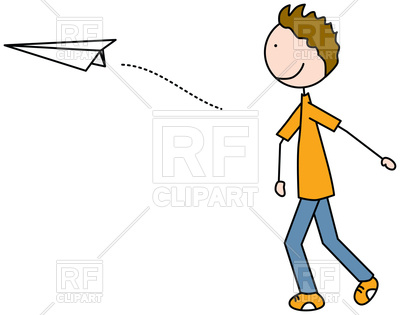 400x315 Cartoon Illustration Of A Boy Throwing Paper Plane Vector Image