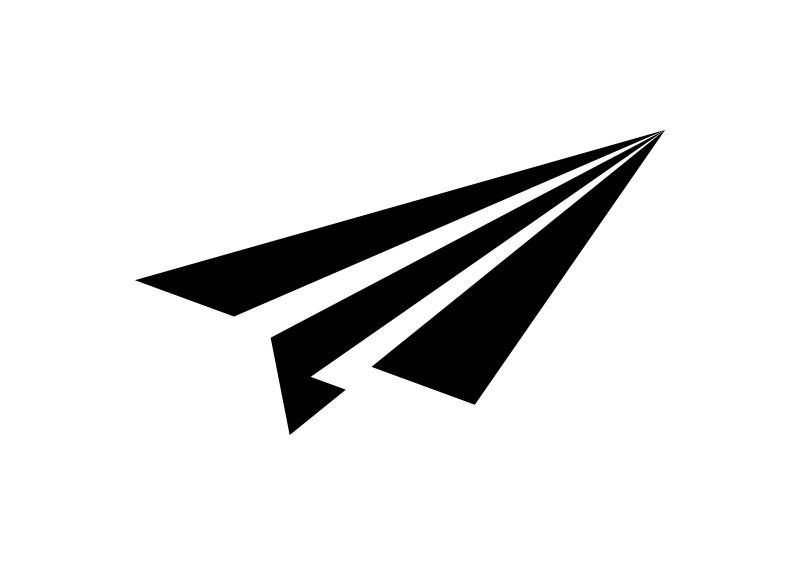 800x566 Simple Black Paper Plane Vector Icon
