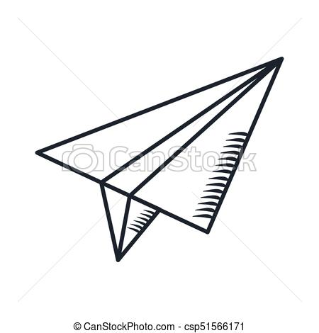 450x470 Handdraw Icon Paper Plane. Paper Airplane In The Sky. Cartoon Flat