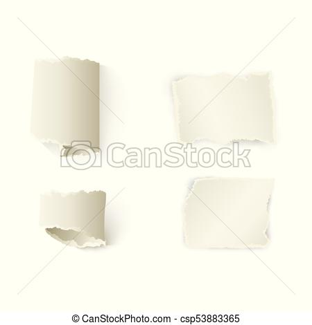 450x470 Vector Torn Paper With Ripped Edges Set. Vector Set Of Torn Paper