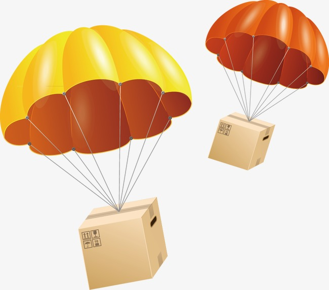 650x573 Parachute, Yellow, Box, Parachute Vector Png And Vector For Free