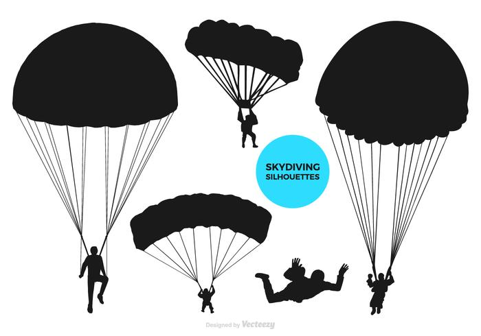 700x490 Paragliding And Skydiving Vector Black Silhouettes