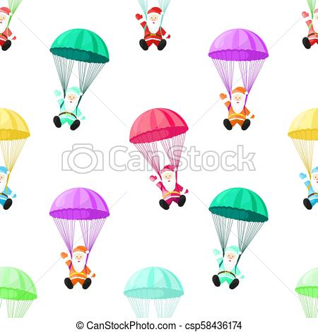 450x470 Santa Claus With A Parachute. Vector Illustration In Cartoon Style