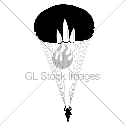 500x500 Skydiver, Silhouettes Parachuting Vector Illustration Gl Stock