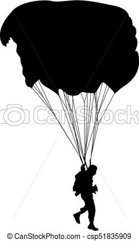271x470 Skydiver, Silhouettes Parachuting Vector Illustration. Skydiver
