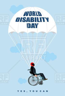 269x400 World Disabilities Day. Man In Wheelchair Goes Down On Parachute