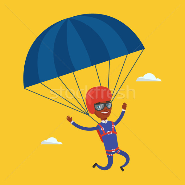 600x600 Young Happy Man Flying With Parachute. Vector Illustration