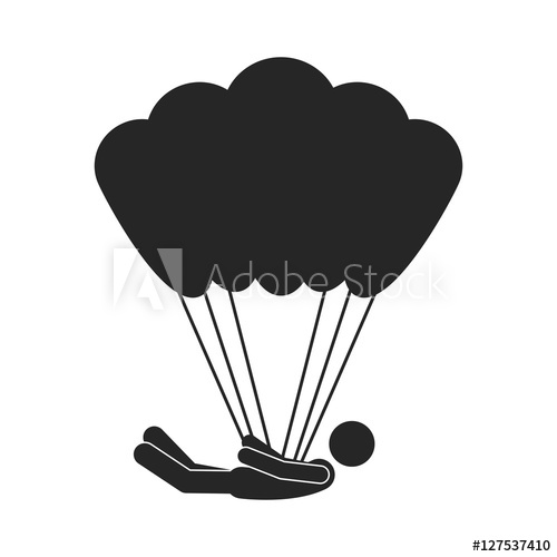 500x500 Monochrome Silhouette With Man Position Horizontal In Parachute