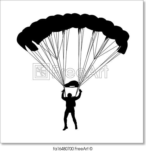 561x581 Free Art Print Of Skydiver, Silhouettes Parachuting Vector