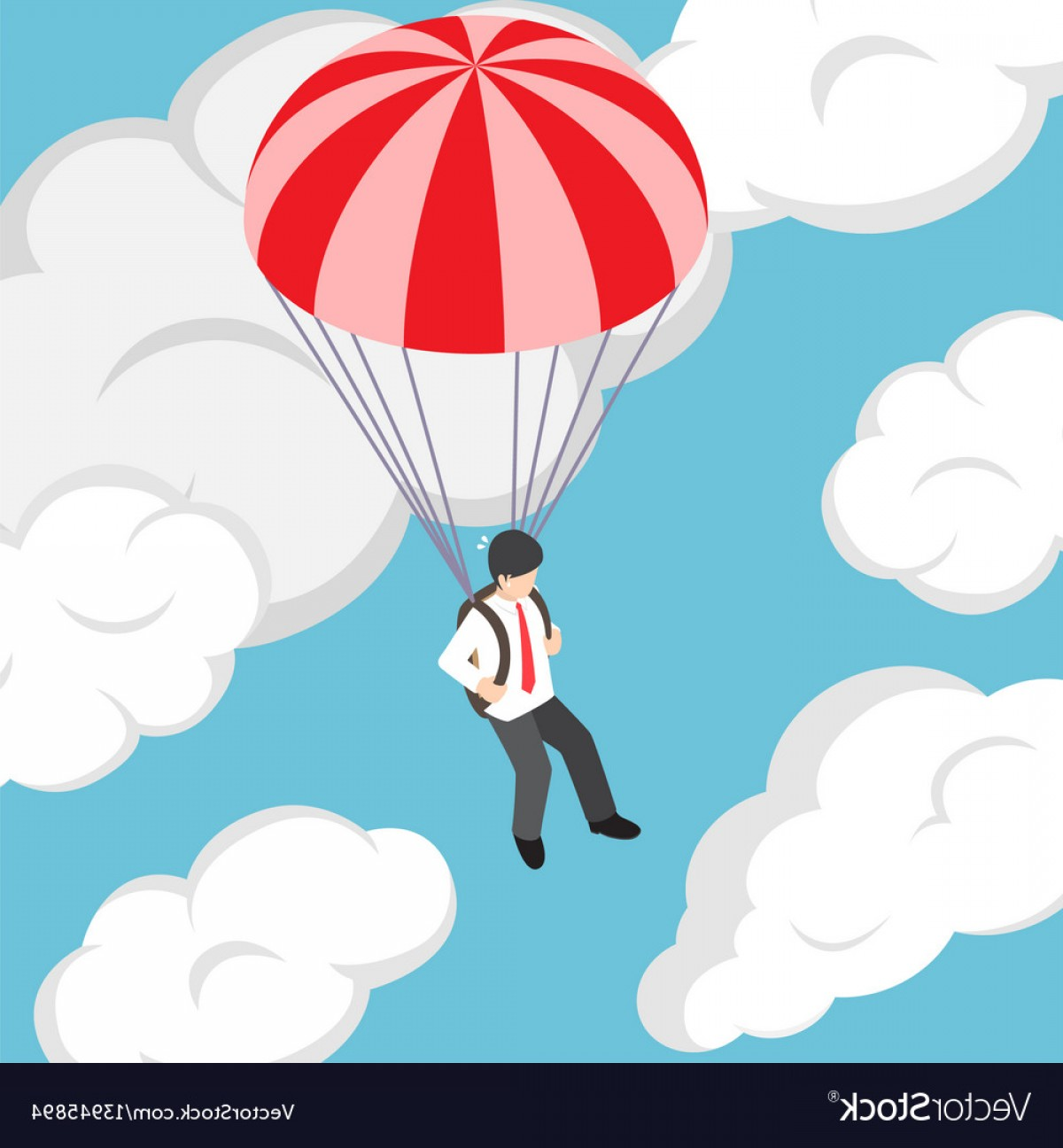 1200x1296 Isometric Businessman Flying With Parachute Vector Geekchicpro