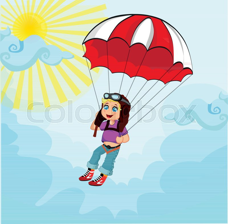800x787 Little Cute Boy Jumping With Parachute. Vector Illustration