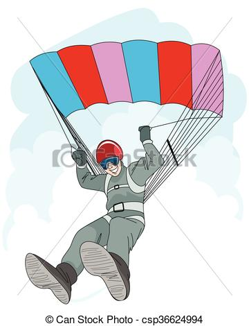 360x470 Man Jumping With Parachute. Vector Illustration Of A Man Jumping