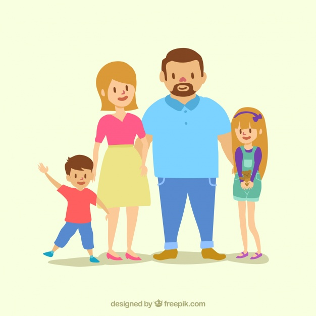 626x626 Happy Parents With Two Lovely Children Vector Free Download