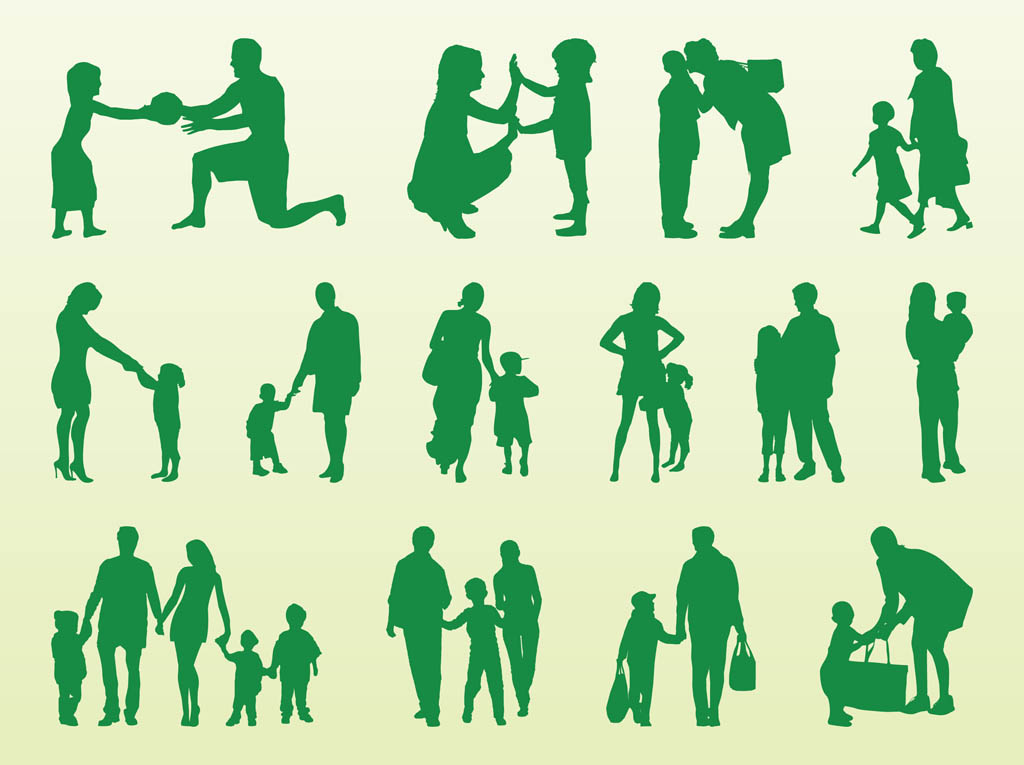 1024x765 Kids And Parents Silhouettes Vector Art Amp Graphics