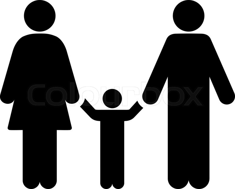 800x643 Parents And Child Vector Icon. Style Is Flat Symbol, Black Color