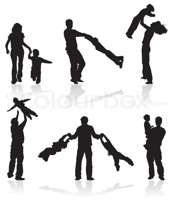 689x800 Silhouettes Of Parents With Children, Vector Illustration Stock