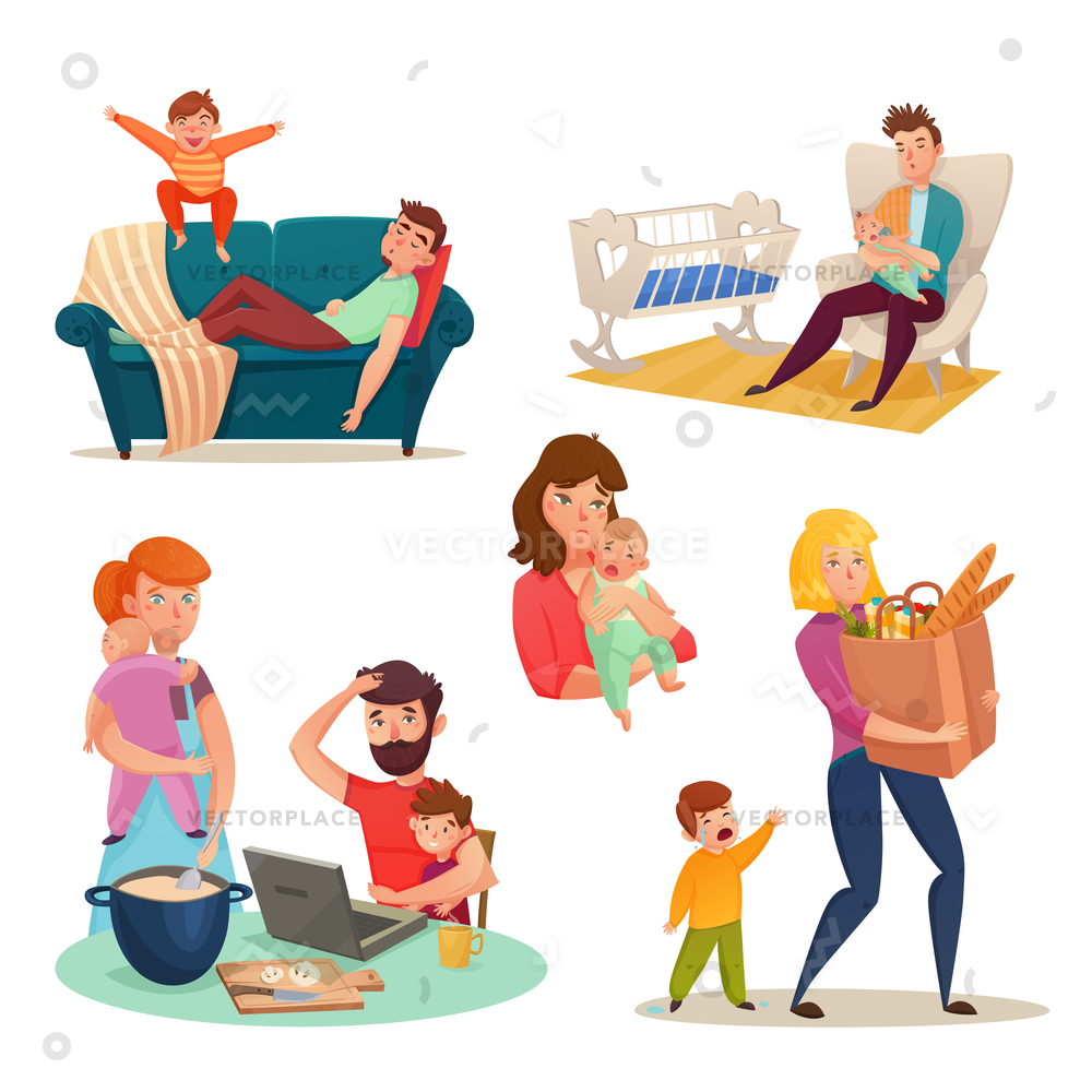 1000x1000 Tired Parents Isolated Decorative Elements Mother Vector