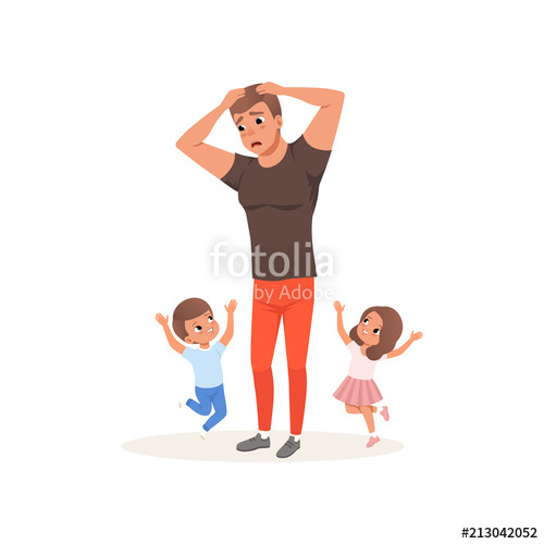 500x500 Tired Father And His Children Who Want To Play, Parenting Stress