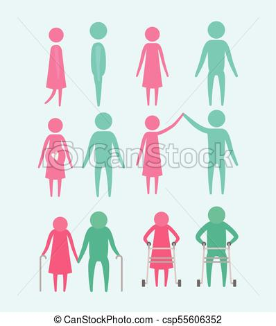 398x470 Color Background With Silhouette Set Pictogram Generations Cycle