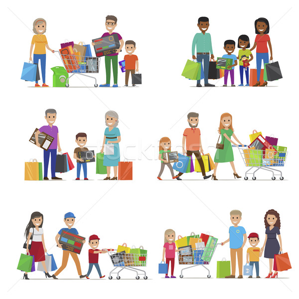 600x600 Family Out On Shopping Set. Children And Parents Vector